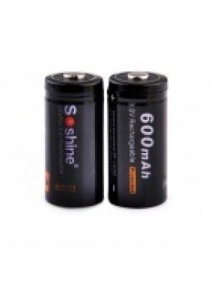 Soshine RCR123 3V 600mAh LifePO4 oplaadbare bat.